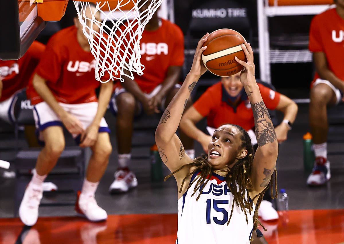 United States center Brittney Griner lays up the ball during the first half of an exhibition ba ...