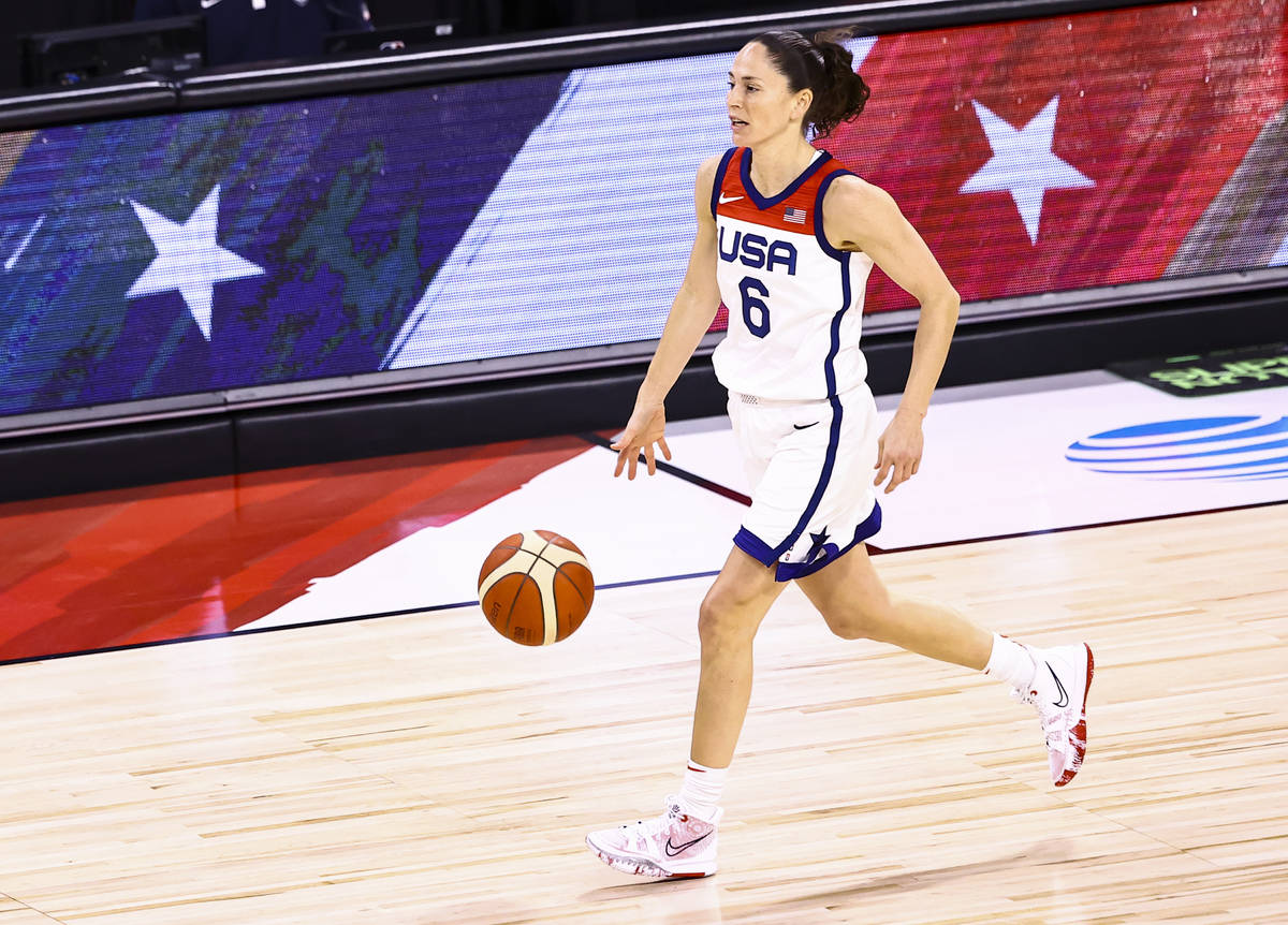 United States guard Sue Bird (6) brings the ball up court during the first half of an exhibitio ...