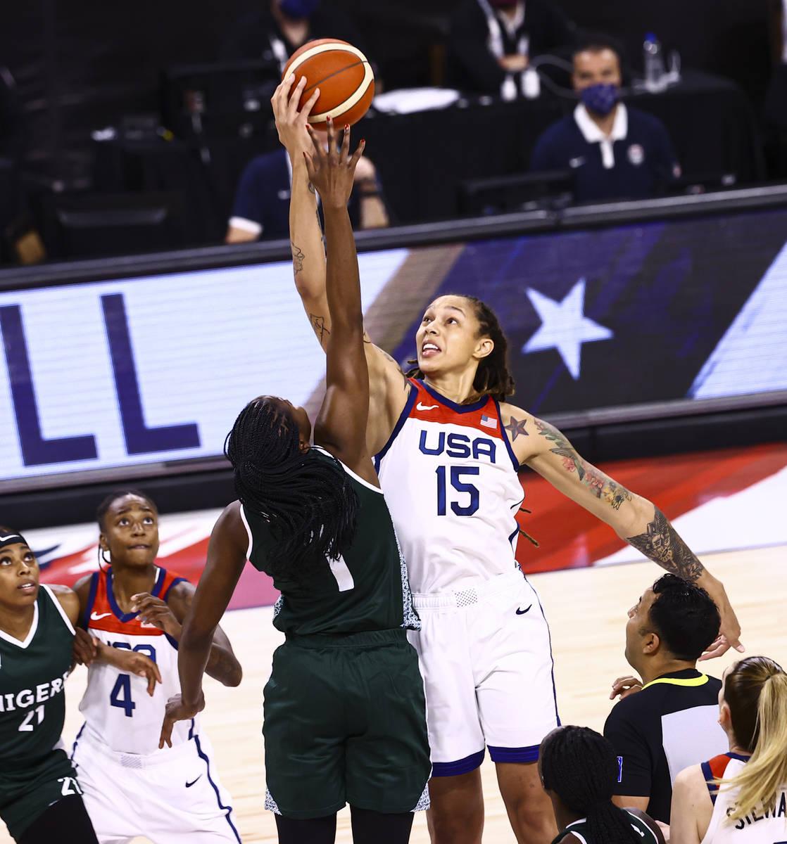 Nigeria forward/center Elizabeth Williams (1) and United States center Brittney Griner (15) vie ...