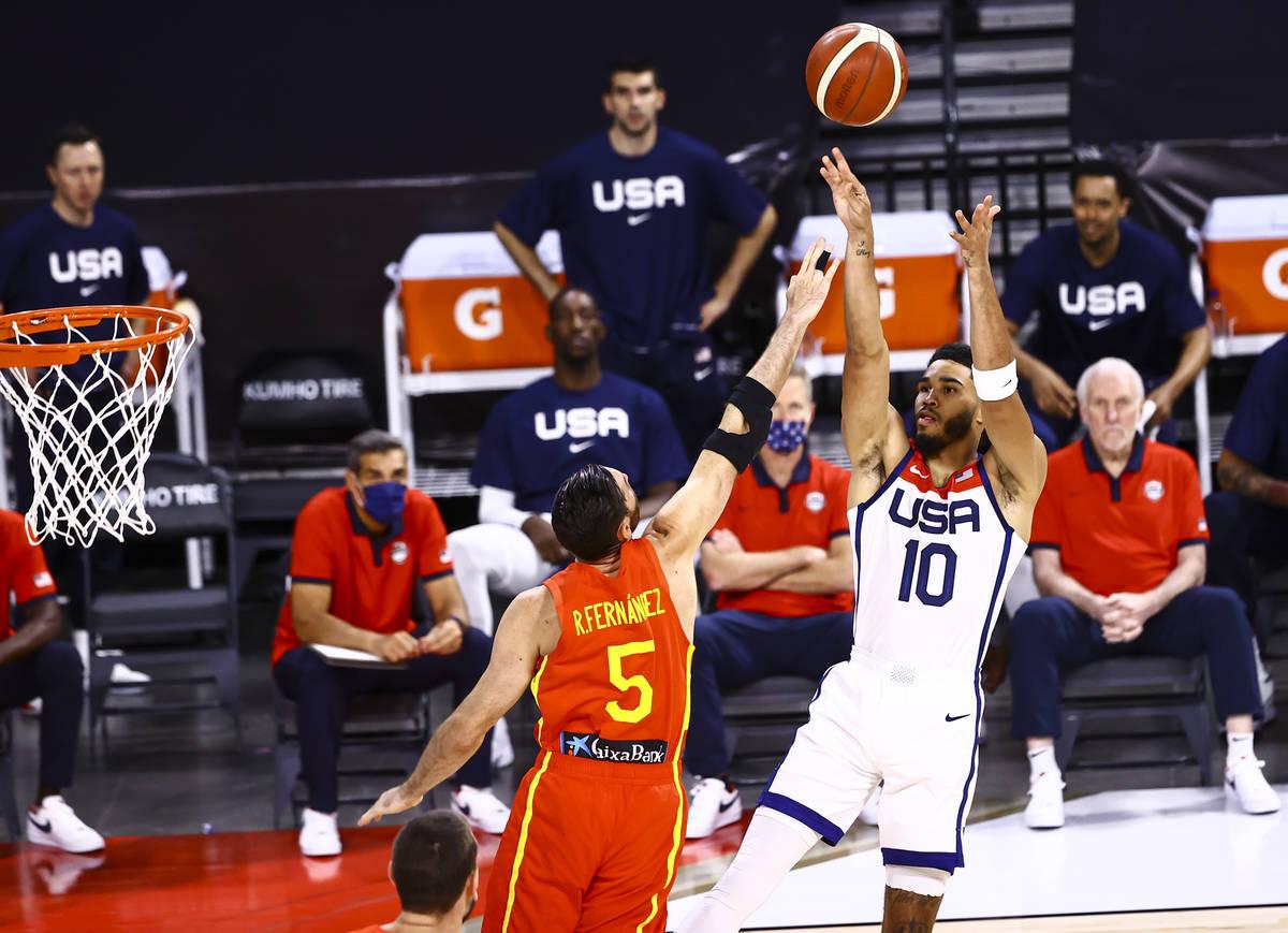 United States forward Jayson Tatum (10) shoots over Spain guard Rudy Fernandez (5) during the f ...