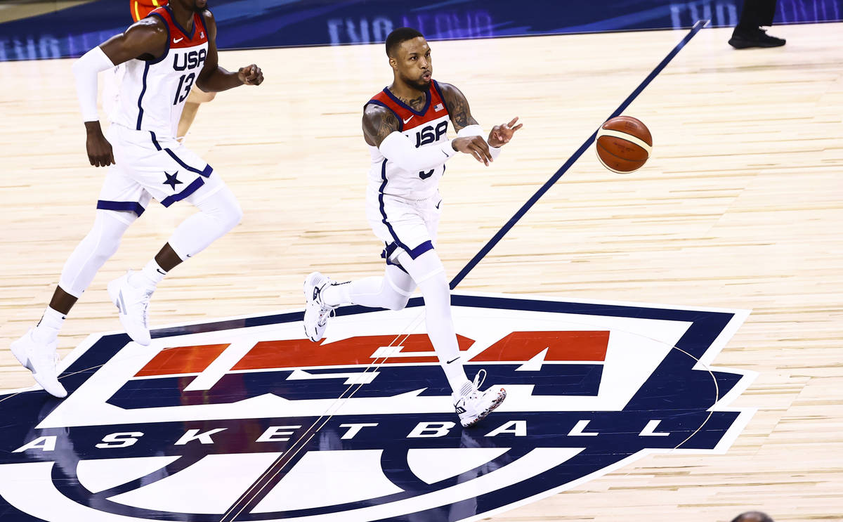United States guard Damian Lillard (6) passes the ball during the second half of an exhibition ...