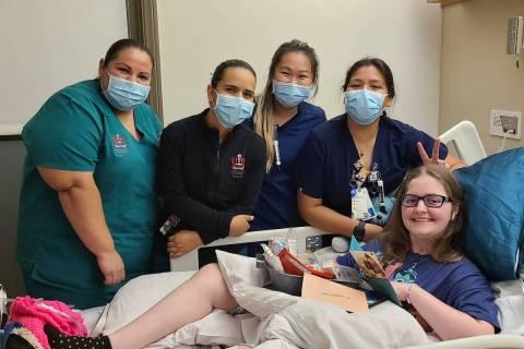 Emma Burkey with hospital staff at medical facilities at Loma Linda University. (Burkey Family)