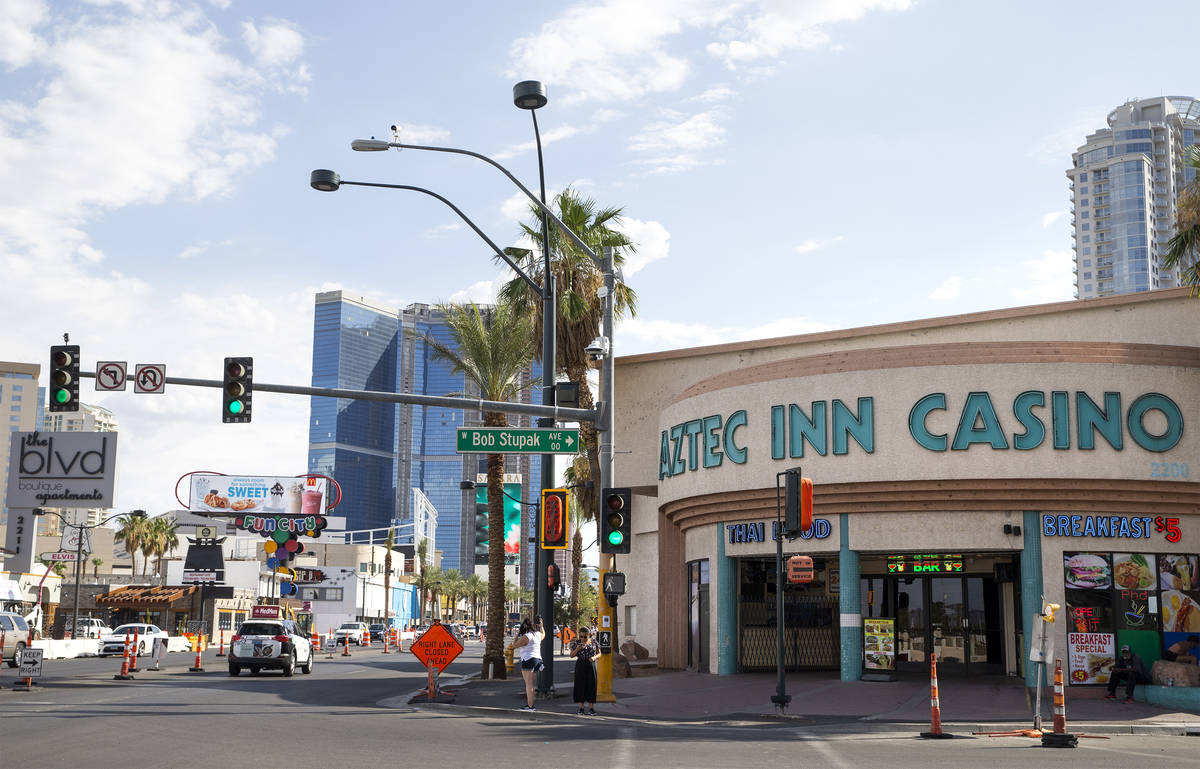 The Aztec Inn Casino, a property for sale at the intersection of Las Vegas Boulevard and Bob St ...