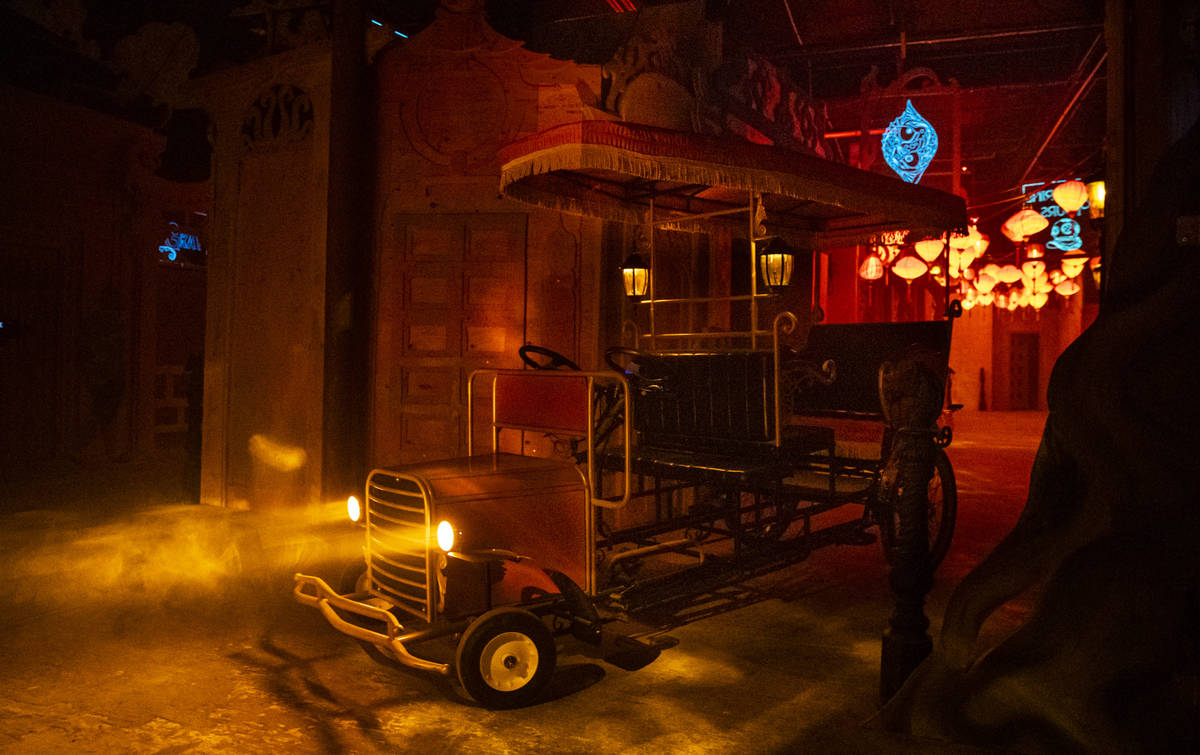 A rickshaw, which will help transport guests, is seen during a tour of Lost Spirits Distillery, ...
