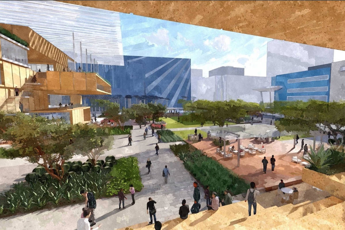 This rendering shows an image from LGA, BNIM and OJB, one of the three finalist designs for a p ...