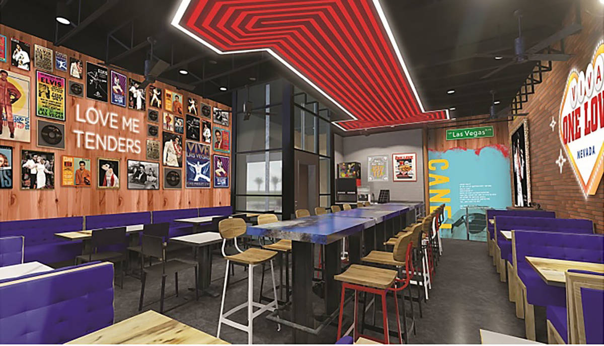 The planned interior of the Raising Cane's on the Strip. (Raising Cane's)