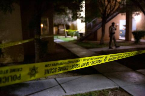 Las Vegas police investigate a shooting at an apartment complex at 2720 West Serene Avenue on W ...