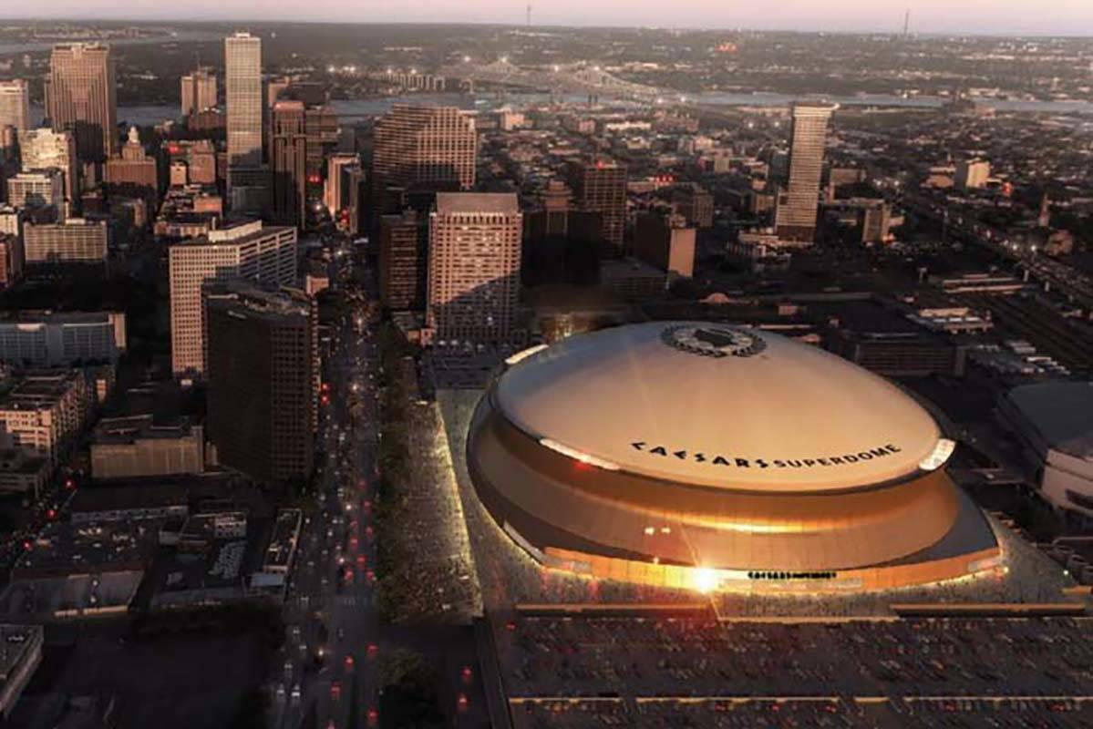 An artist rendering shows what the Caesars Superdome would look like once rebranding occurs. Ca ...
