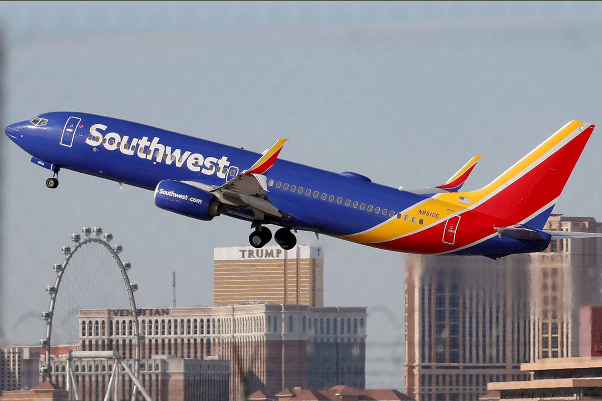 In a Feb. 27, 2020, file photo, a Southwest Airlines plane takes off from the McCarran Internat ...
