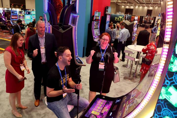 Slots influencer Brian Christopher, who has a slot room at the Plaza, records a video playing t ...