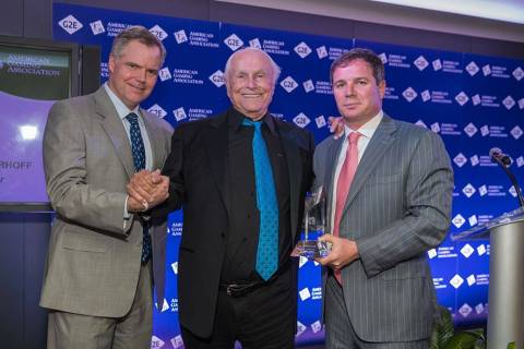 Former MGM Resorts International CEO Jim Murren, left, and Geoff Freeman, former president and ...