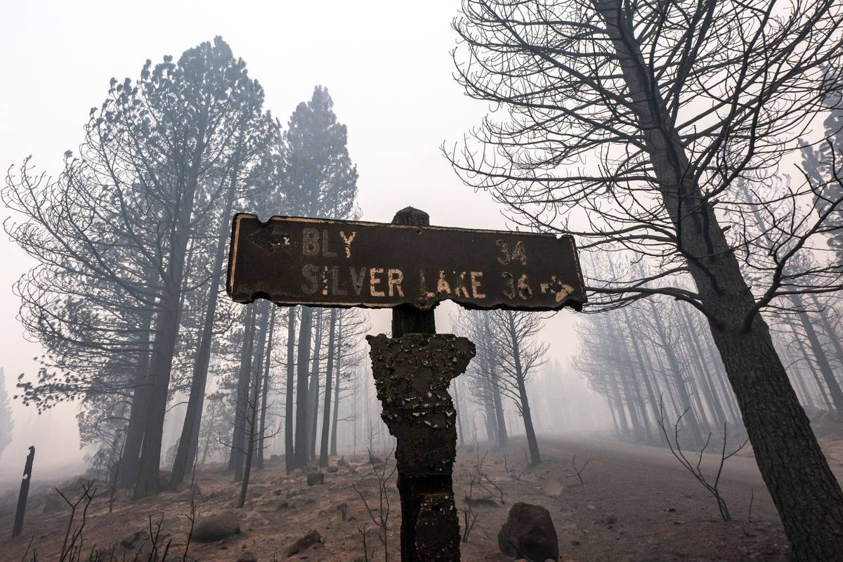 A sign damaged by the Bootleg Fire stands among the haze on Thursday, July 22, 2021, near Paisl ...
