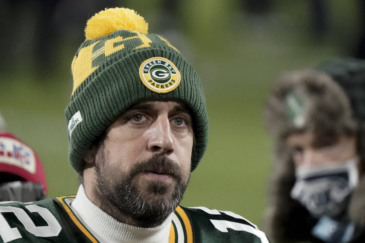 FILE - In this Sunday, Jan. 24, 2021, file photo, Green Bay Packers quarterback Aaron Rodgers ( ...