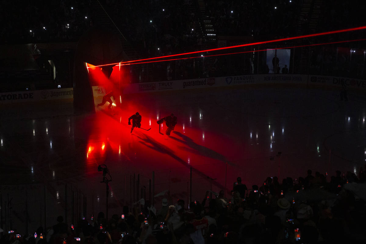 The Golden Knights take the ice before Game 5 of an NHL hockey Stanley Cup semifinal playoff se ...
