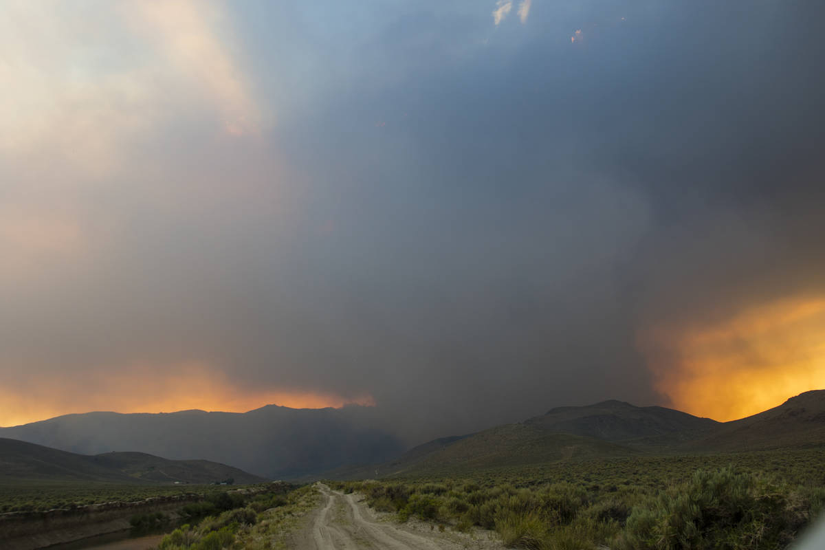 The Tamarack Fire burns near Nevada State Route 208, east of Holbrook Junction in Nevada, Frida ...