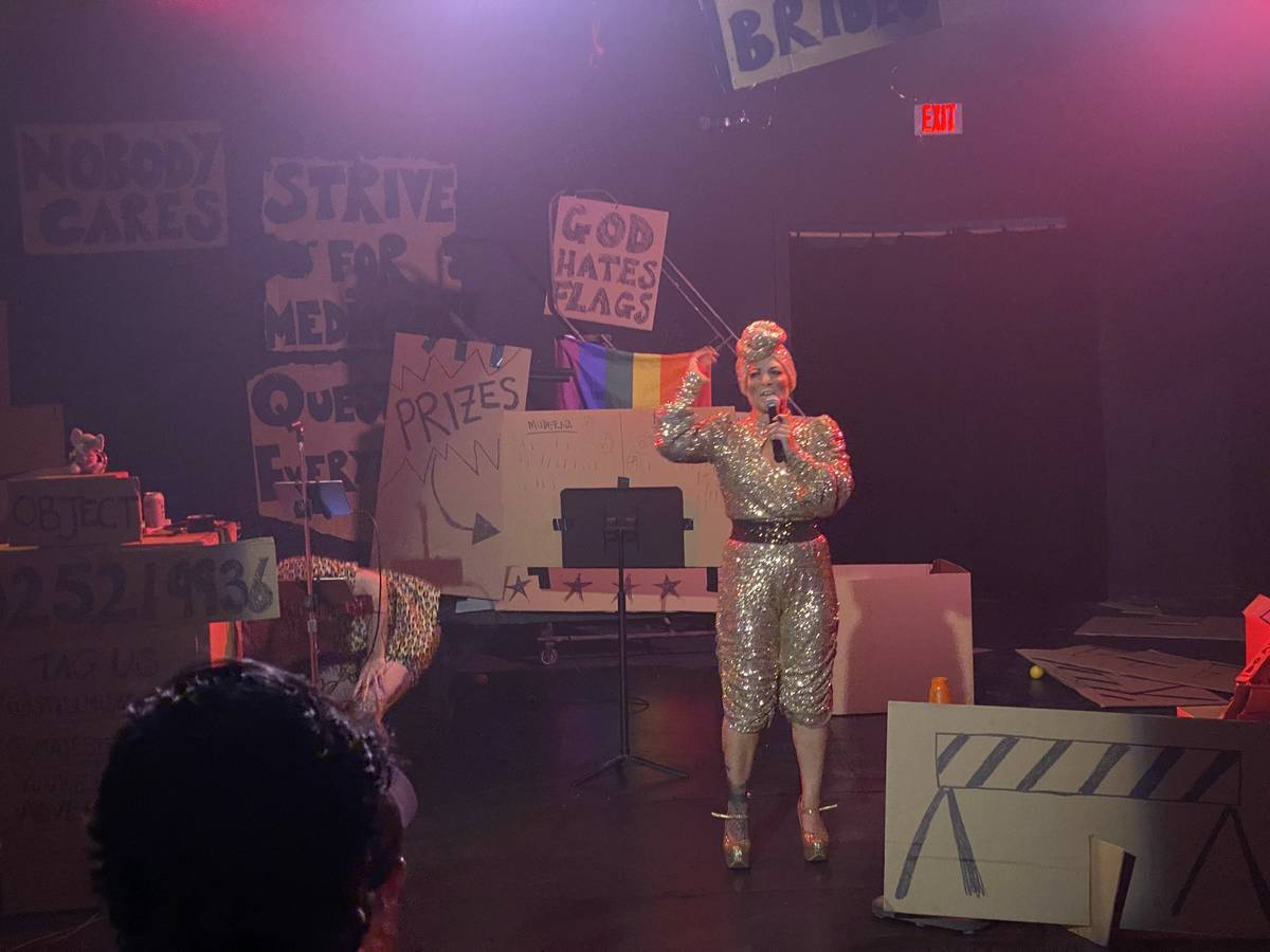 """Amy Saunders and her co-star, Tiffany, perform in """"Miss Behave Game Show"""" at Majestic Repertory ..."""