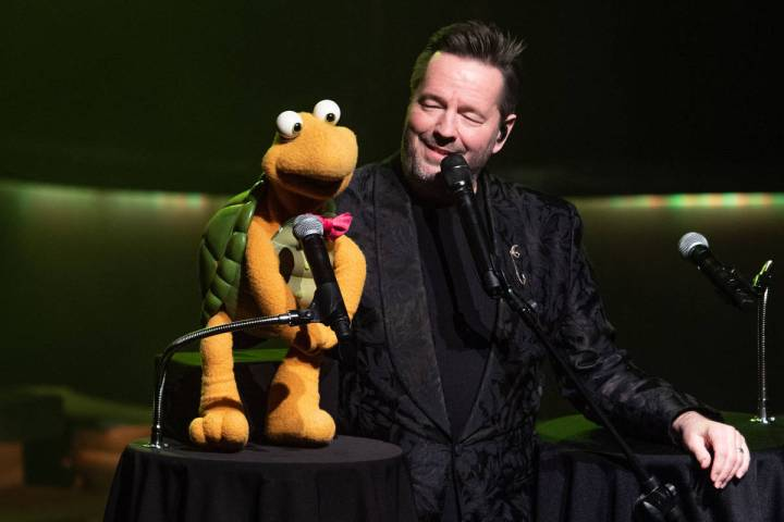 Terry Fator, shown with Winston The Impersonating Turtle, has returned to residency at New York ...