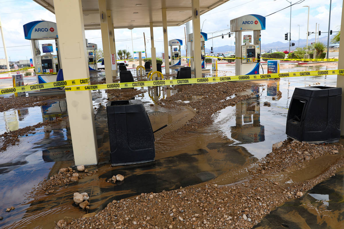 An Arco gas station is washed out from a recent flash food near Rainbow Boulevard and Blue Diam ...