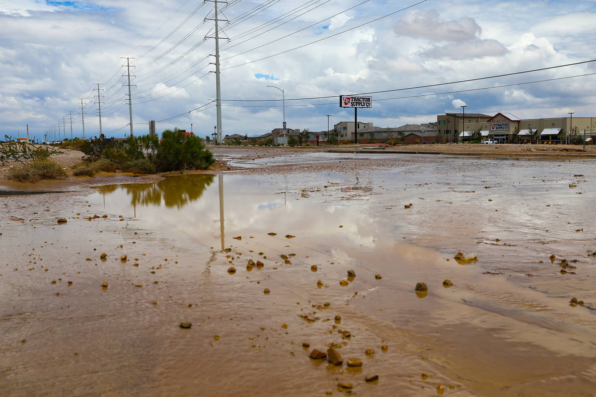 Rainbow Boulevard by Blue Diamond is washed out from a recent flash food near in Las Vegas, Mon ...