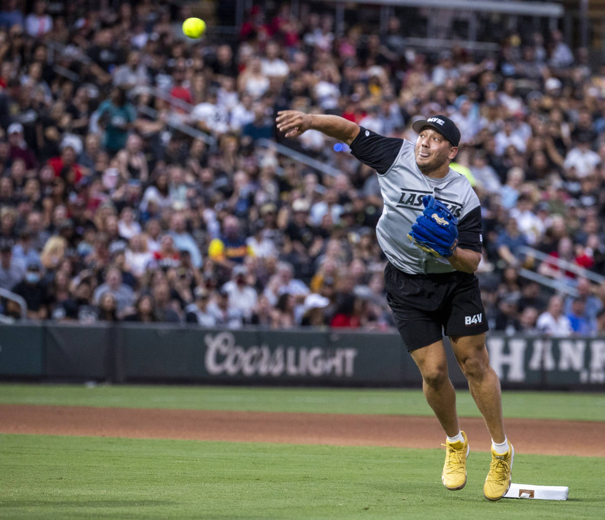 charity softball game involving players from the Vegas Golden Knights and Las Vegas Raiders at ...