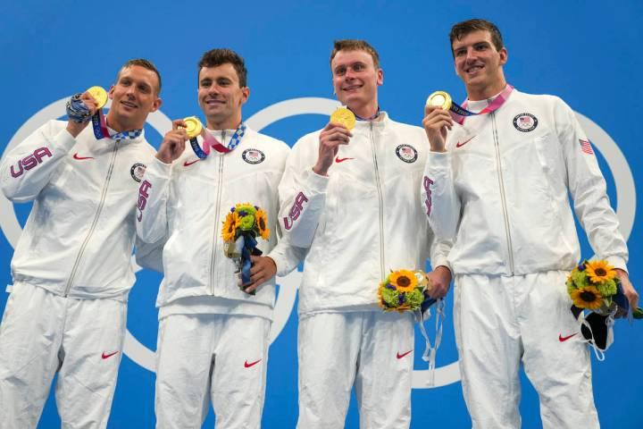 United States men's 4x100m freestyle relay team of Caeleb Dressel, Blake Pieroni, Bowe Becker a ...