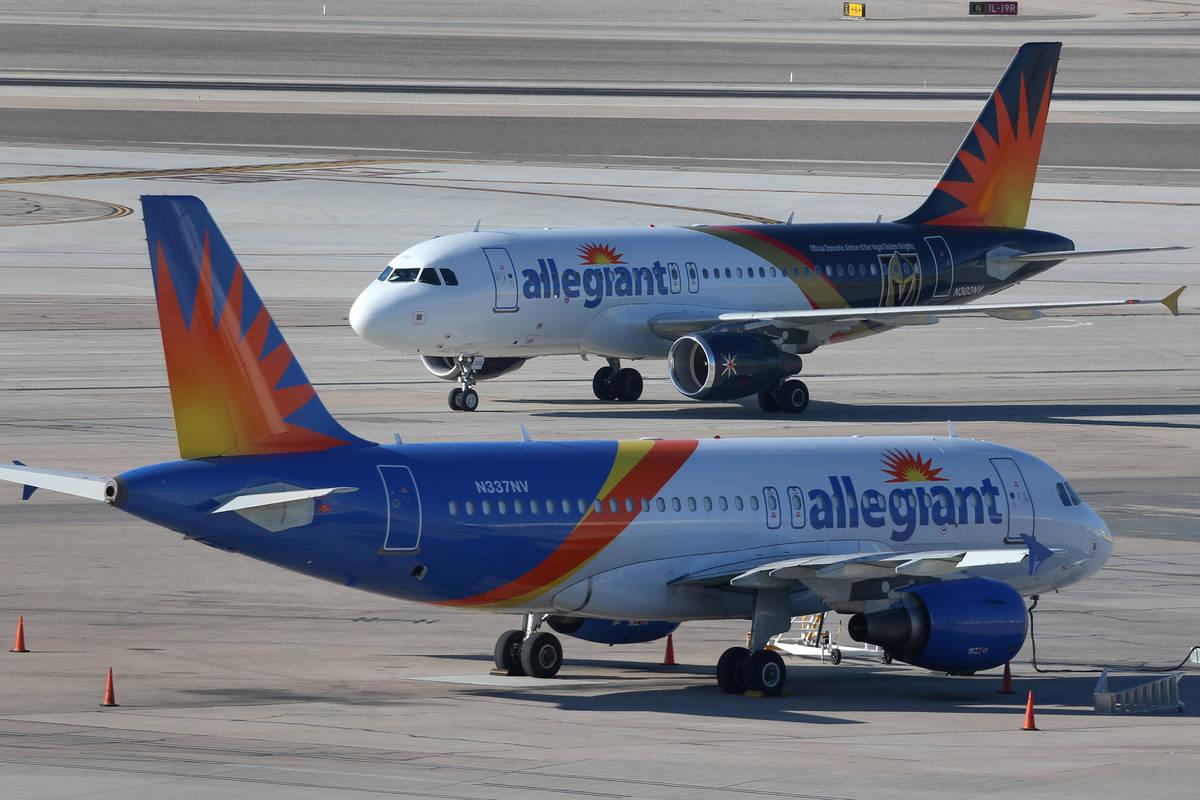 An Allegiant Air airplane taxis at McCarran International Airport in Las Vegas, Tuesday, Jan. 1 ...