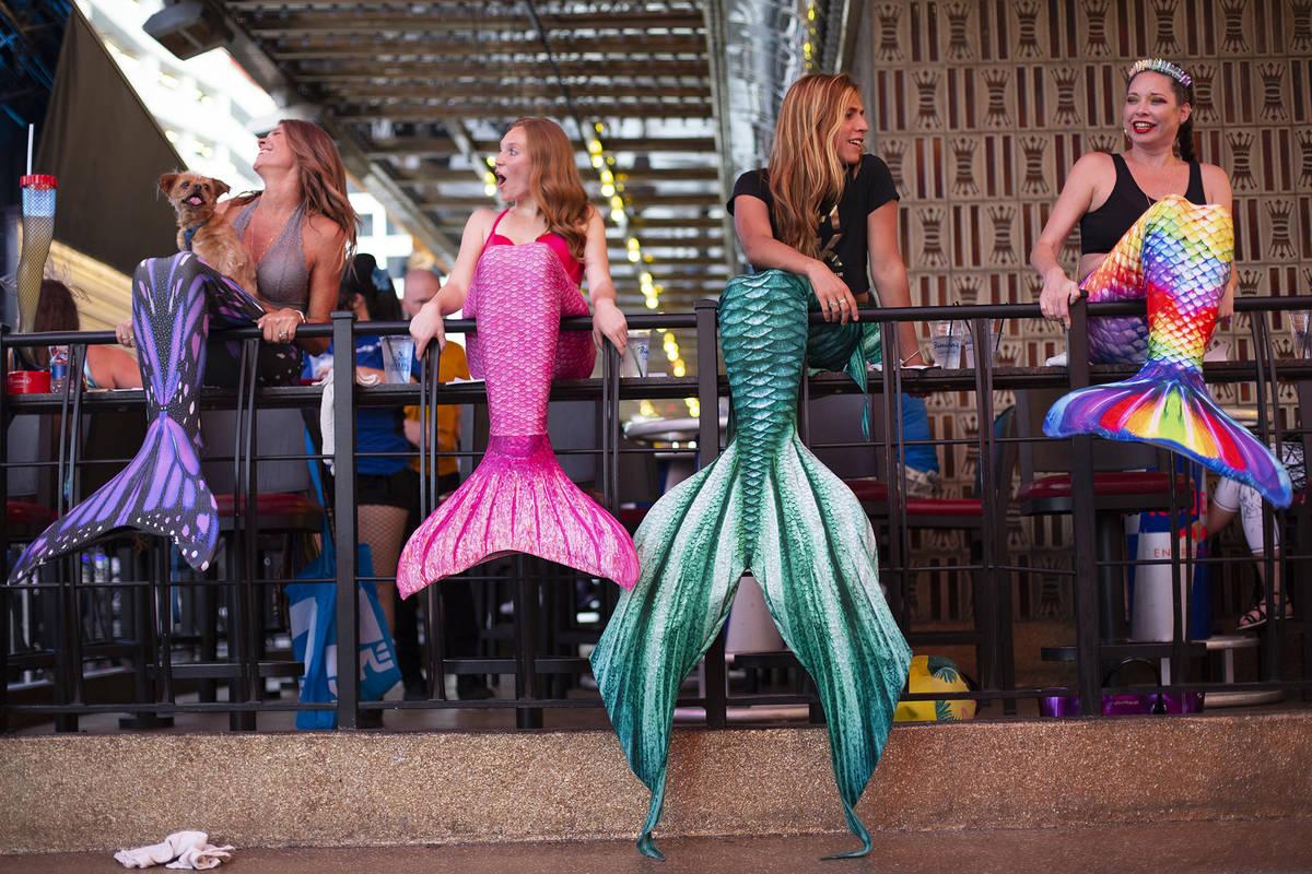 From left, Veronika Valentine, Miranda Huizing, The Traveling Merman and JJ Sin City put on a s ...