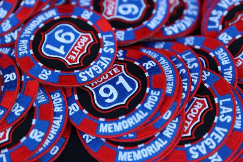 A custom patch for participates of the Country Strong Foundation Route 91 Memorial Ride at the ...