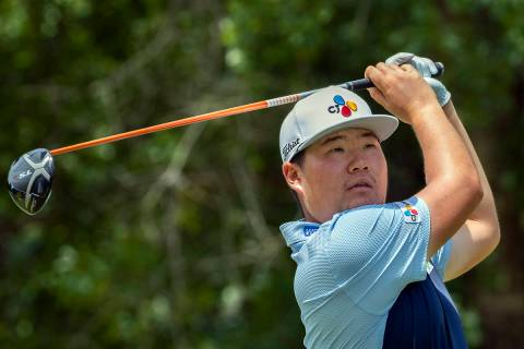 Sungjae Im, of South Korea, watches his drive off the ninth tee during the first round of the P ...