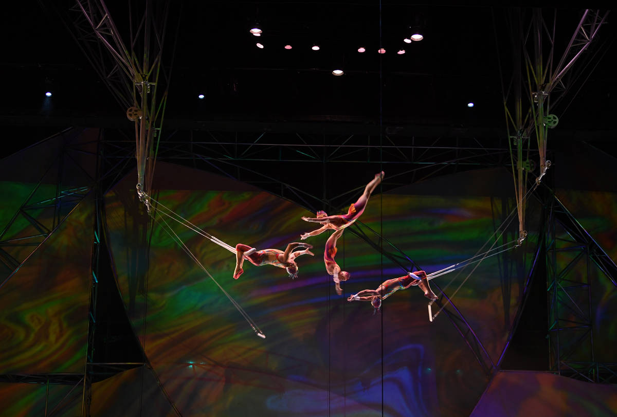 """Cirque du Soleil's """"Mystère"""" artists perform at the re-opening at Treasure Island on June 28, ..."""