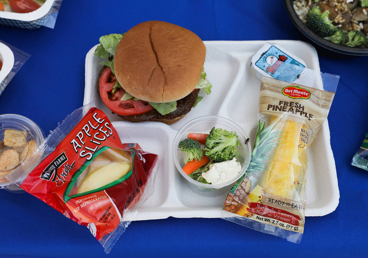 Food offerings for the Clark County School District include this vegan burger shown at Rex Bell ...