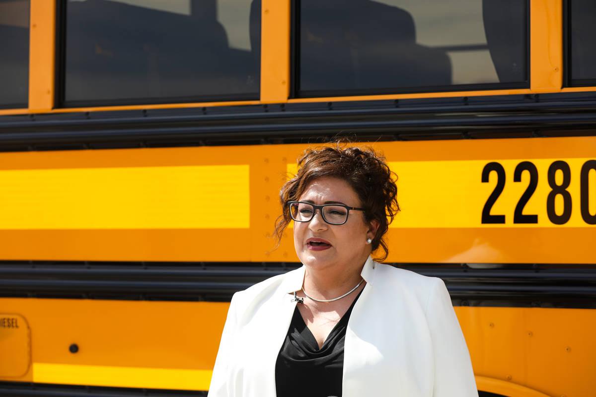 Jennifer Vobias, executive director of transportation for Clark County School District, talks a ...