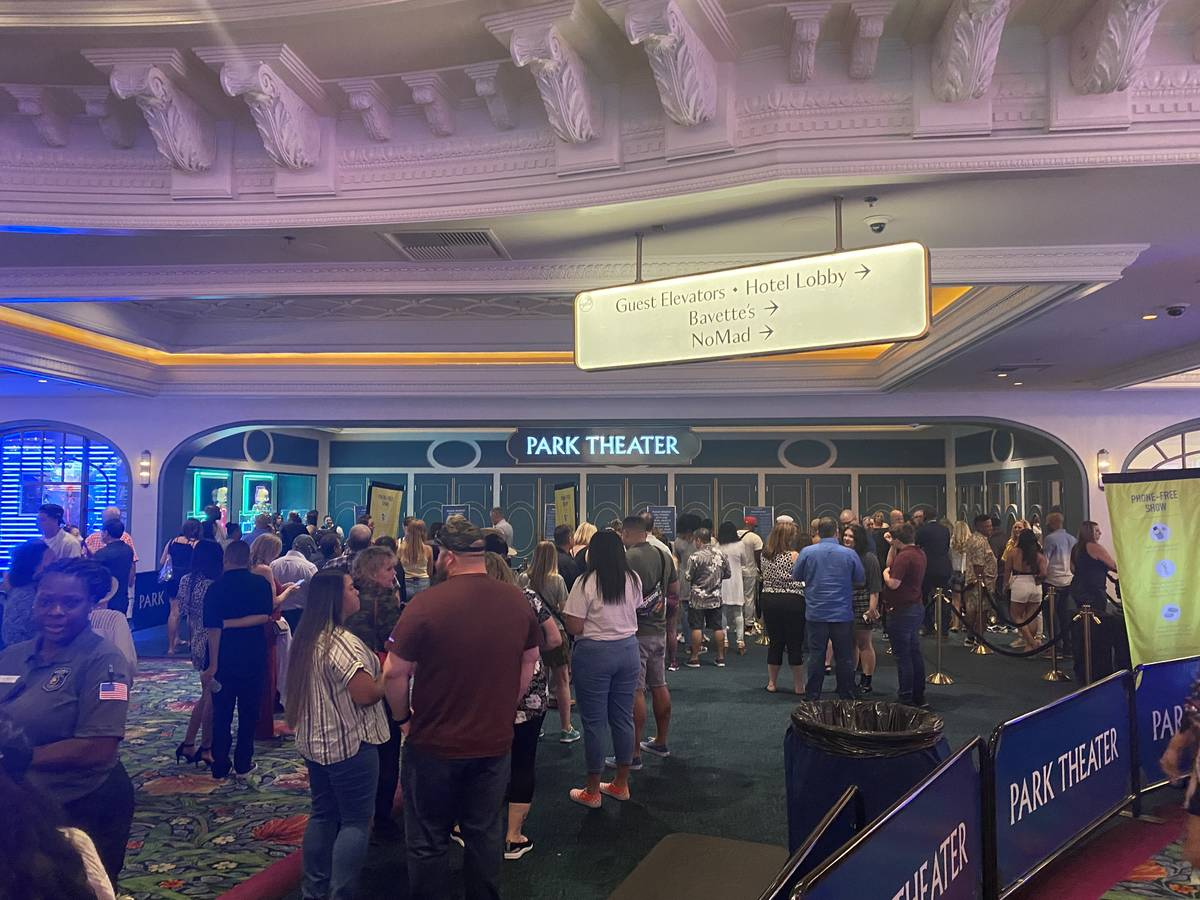 The entrance of Park Theater is shown about two hours before Bruno Mars' return to the stage on ...