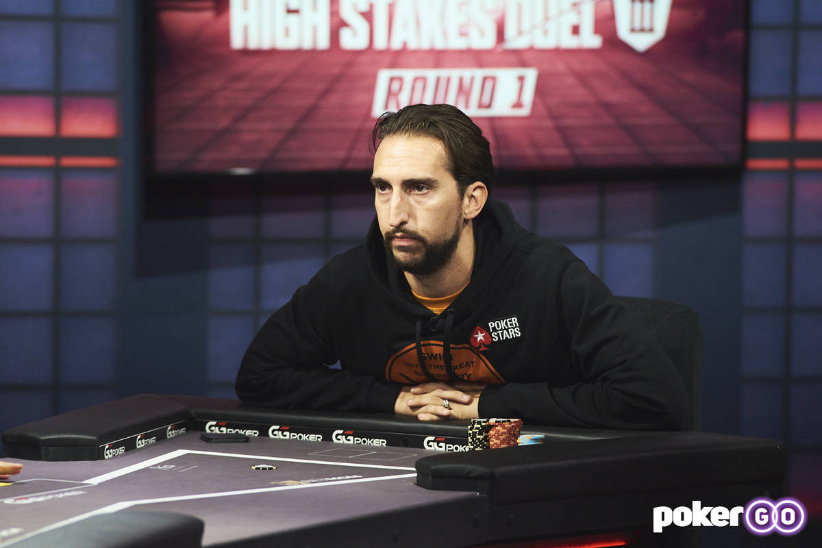 """Nick Wright plays on """"High Stakes Duel"""" on Wednesday, July 28, 2021, at the PokerGO studio by t ..."""
