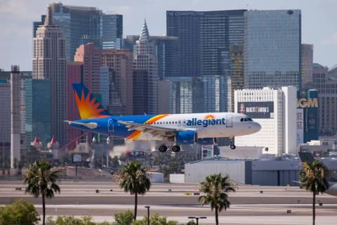An Allegiant Air flight prepares to land at McCarran International Airport in Las Vegas in 2018 ...
