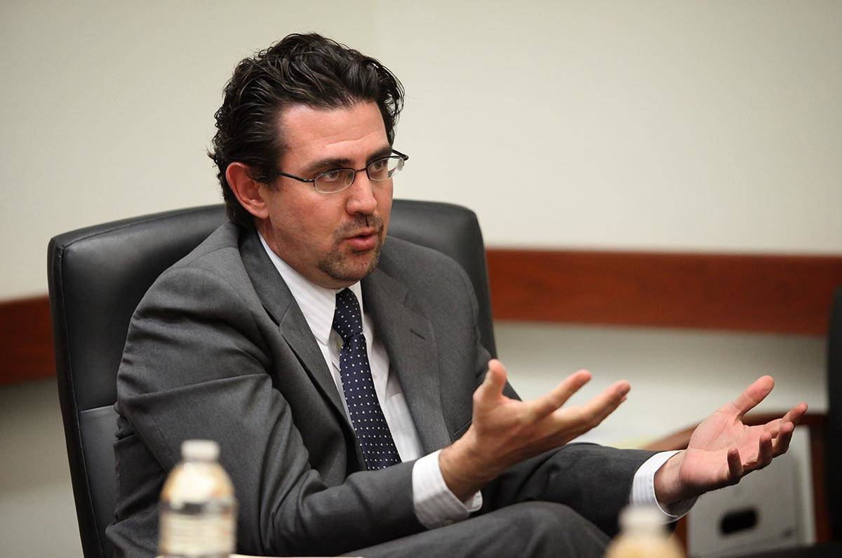 Jeremy Aguero, principal analyst with Applied Analysis, talks with the Review-Journal editorial ...