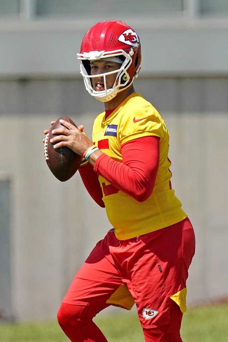 Kansas City Chiefs quarterback Patrick Mahomes throws the ball during the NFL football team's o ...