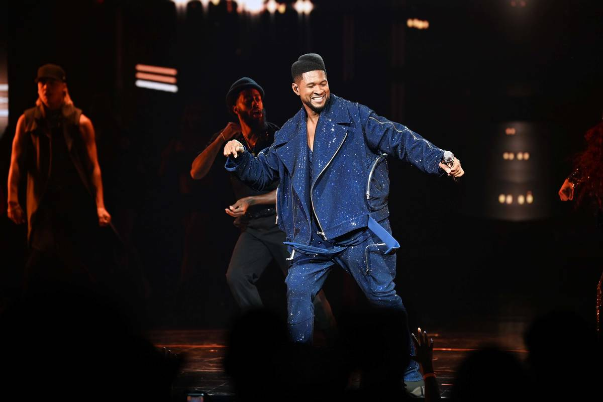 """Usher performs at the grand opening of """"Usher: The Las Vegas Residency"""" at The Colosseum at ..."""