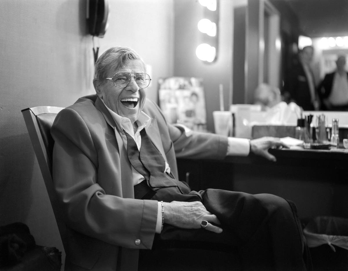 Jerry Lewis has a laugh in his dressing room after the final show of his run at the South Point ...