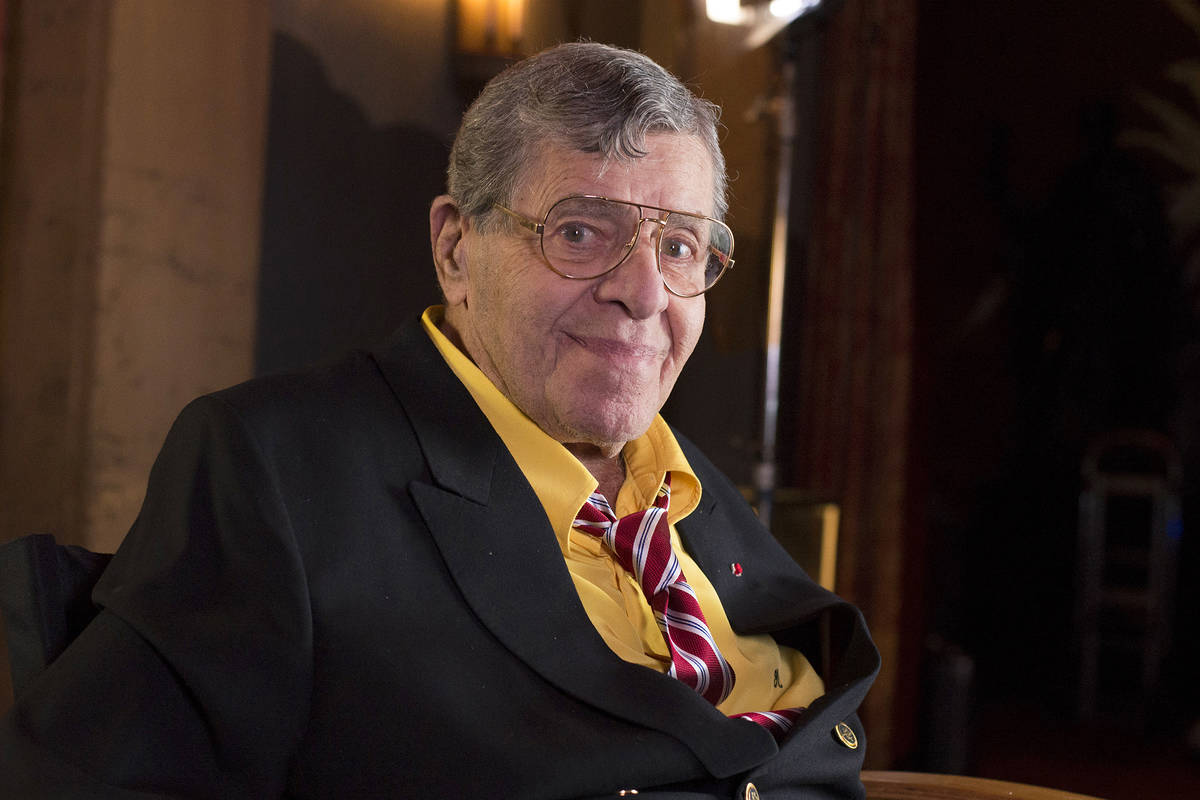 Actor and comedian Jerry Lewis poses during an interview April 12, 2014, at TCL Chinese Theatre ...
