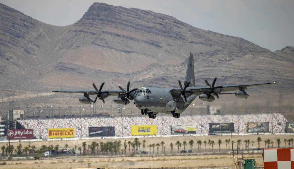 A C-130 comes in for a landing as Nellis Air Force Base is hosting a RED FLAG exercise on Thurs ...