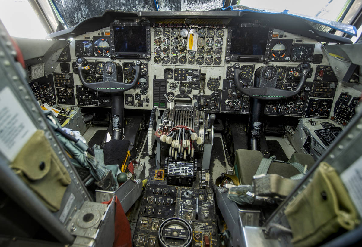 Cockpit of a B-52 Bomber on the flight line as Nellis Air Force Base is hosting a RED FLAG exer ...
