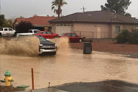 Flooding continues in Pahrump. (Ann Riget Noha)