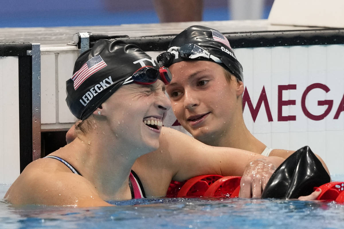 Katie Ledecky, of United States, celebrates with teammate and Las Vegas native Katie Grimes aft ...