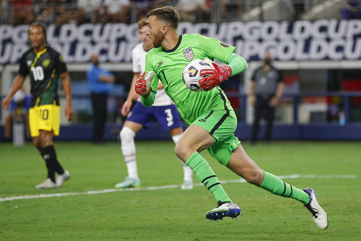 United States goalkeeper Matt Turner (1) looks for an open teammate during a CONCACAF Gold Cup ...