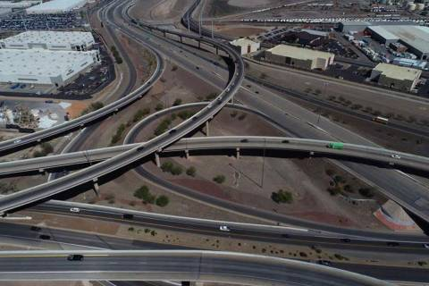 An aerial photo of the Henderson Spaghetti Bowl taken April, 2, 2019. (NDOT)