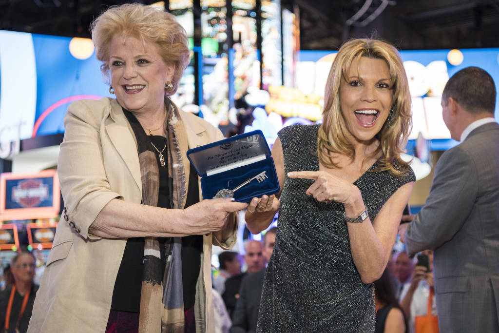 """Mayor Carolyn Goodman, left, gives a key to the city to Vanna White for 20 years of """"Wheel of F ..."""
