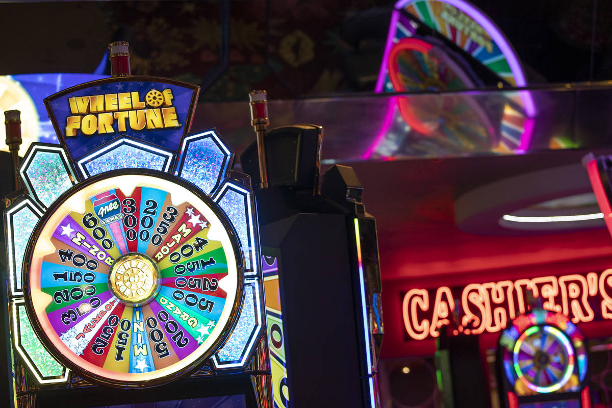 The Wheel of Fortune slots zone at the Plaza Hotel and Casino on Friday, July 30, 2021, in Las ...