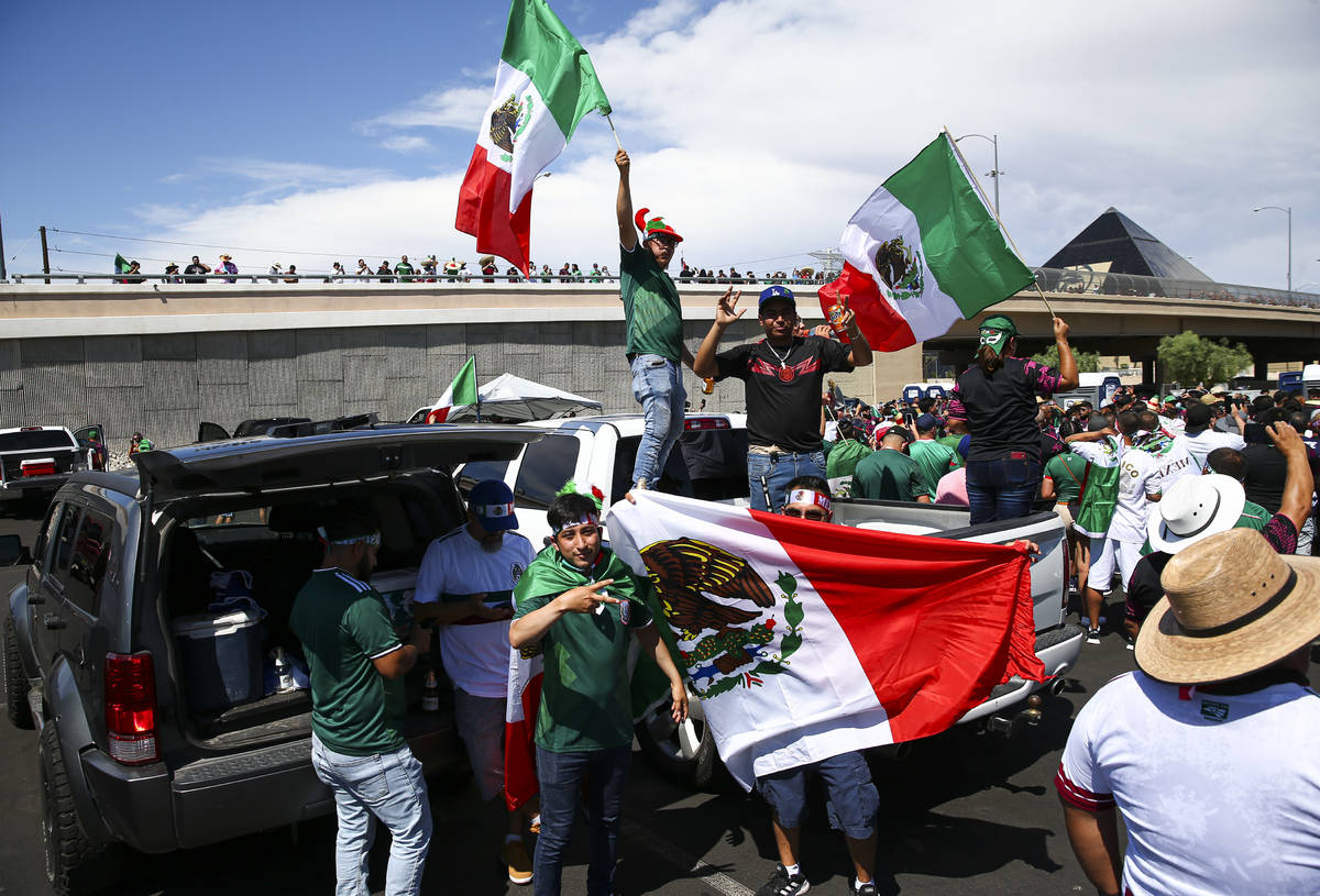 Mexico fans celebrate before the Concacaf Gold Cup final soccer match at Allegiant Stadium in L ...