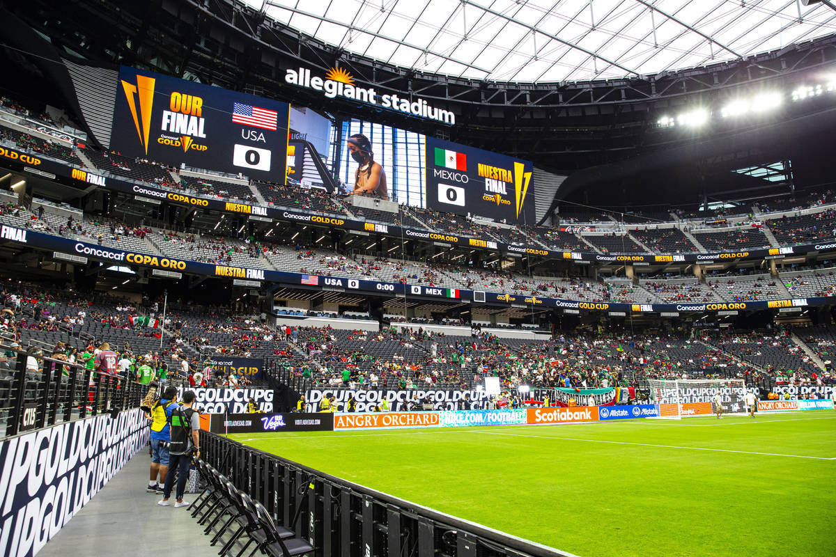 Fans fill the stadium before the start of the Concacaf Gold Cup final soccer match at Allegiant ...